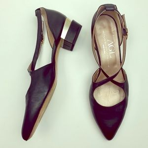 AGL Strappy Chunky Heel Leather Shoes